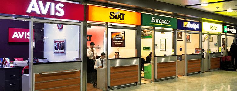 Car rental kiosks inside Sydney Airport