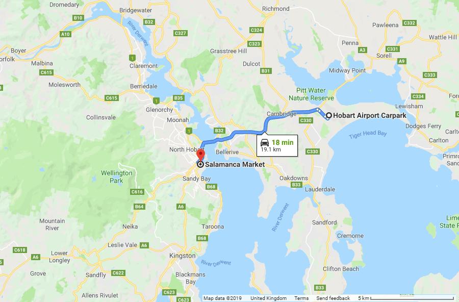 Directions from Hobart Airport Car Park to Salamanca Market - Tasmania