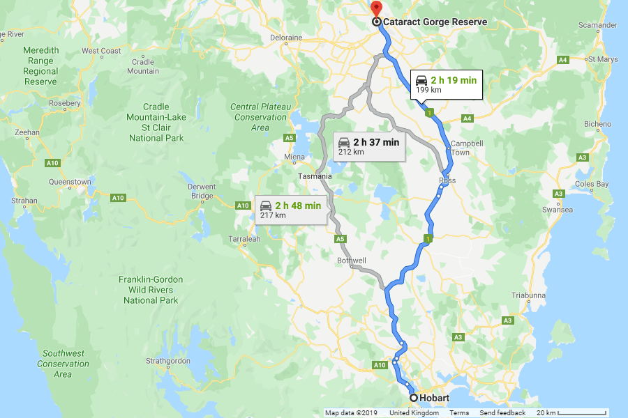 Directions from Hobart to Cataract Gorge