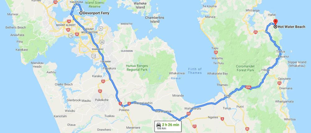 Map from Devonport Ferry Terminal to Hot Water Beach - New Zealand